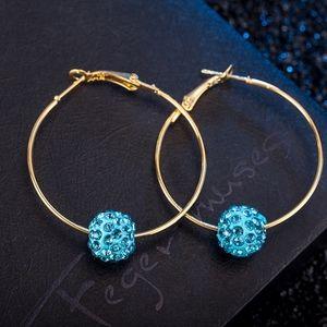 COMING SOON!! Gold Blue Crystal Ball Hoop Earrings